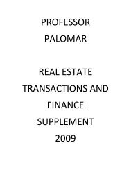 professor palomar real estate transactions and finance supplement ...