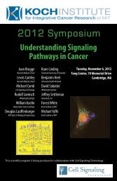 2012 Symposium - The David H. Koch Institute for Integrative ...