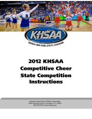 2012 KHSAA Competitive Cheer State Competition Instructions