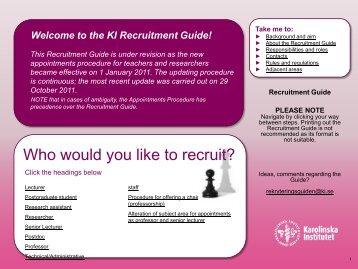 the KI Recruitment Guide! - Internwebben - Karolinska Institutet