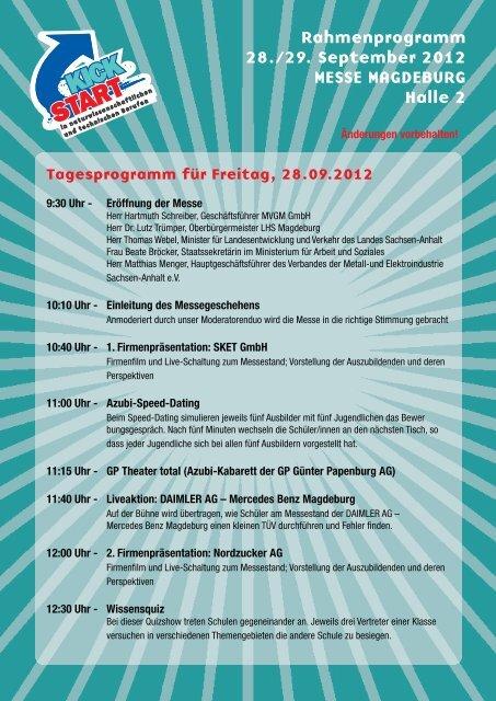 Rahmenprogramm 28./29. September 2012 MESSE MAGDEBURG ...