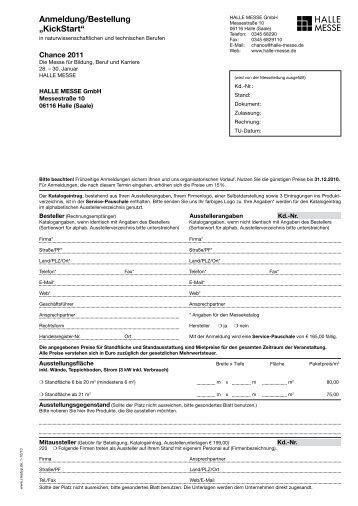 """Anmeldung/Bestellung """"KickStart"""" - KickStart Messe Magdeburg"""