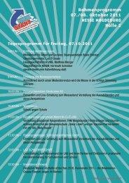 Rahmenprogramm 07./08. Oktober 2011 MESSE MAGDEBURG ...