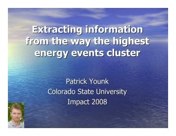 Extracting information from the way the highest ... - KICP Workshops