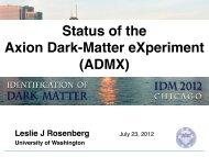 Status of the Axion Dark-Matter eXperiment (ADMX) - KICP Workshops
