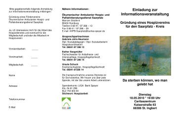 Flyer Hospizverein - Kirche in Homburg