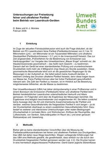 Untersuchungen zur Freisetzung feiner Partikel beim Betrieb von ...