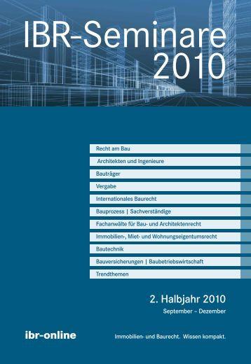 Ibr-Seminare 2. Halbjahr 2010