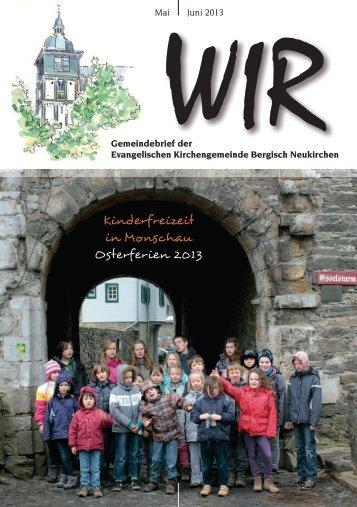 WIR Mai - Juni 2013 - Evangelische Kirchengemeinde Bergisch ...