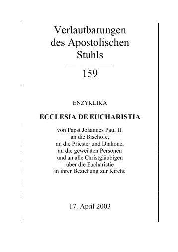 Ecclesia de Eucharistia - Deutsches Liturgisches Institut