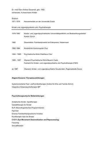 Dr. med Gian-Andrea Giovanoli, geb. 1952 ... - KJP Graubünden