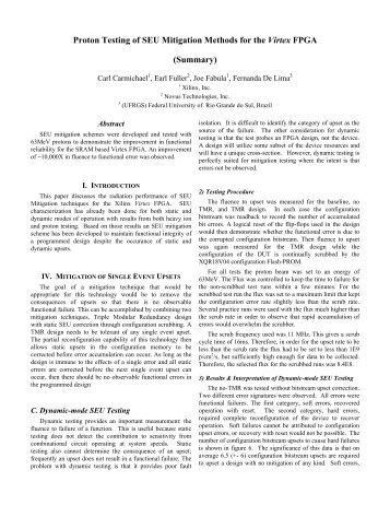 Proton Testing of SEU Mitigation Methods for the Virtex FPGA ...
