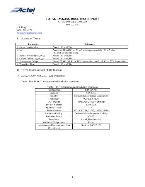 TOTAL IONIZING DOSE TEST REPORT