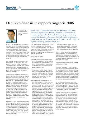 Den ikke-finansielle rapporteringspris 2006 - Børsen