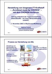 Herstellung von biogenem FT-Kraftstoff ... - Klaus Schneck