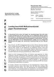 Landtag beschließt Maßnahmenbündel gegen ... - Klaus Schneck