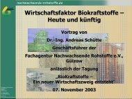 Wirtschaftsfaktor Biokraftstoffe – Heute und künftig - Klaus Schneck
