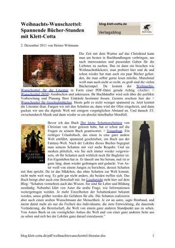 Weihnachts-Wunschzettel für die Literatur - Klett-Cotta