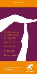 Psychotherapie Psychoanalyse Psychologie Leben ... - Klett-Cotta