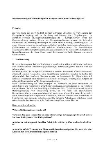 Dienstanweisung zur Vermeidung von Korruption in der ... - in Kleve