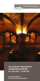 Das exklusive Weinerlebnis Cabinetkellerprobe ... - Kloster Eberbach
