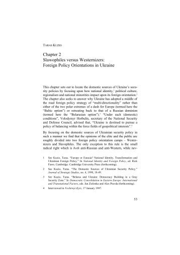 Foreign Policy Orientations in Ukraine