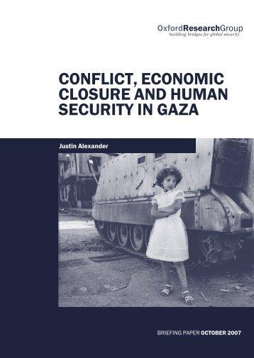 Conflict, Economic Closure and Conflict in Gaza