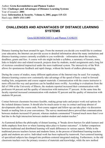challenges and advantages of distance learning systems