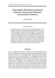 schweizerische Erfahrungen und europaeische ... - ETH Zürich