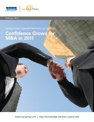Confidence Grows for M&A in 2011 - Knowledge@Wharton ...