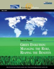 Green Evolution: Managing the Risks, Reaping the Benefits