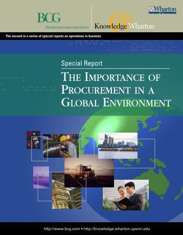 the importance of procurement in a global environment - Knowledge ...