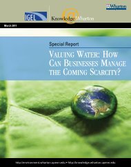 Valuing Water - Knowledge@Wharton - University of Pennsylvania