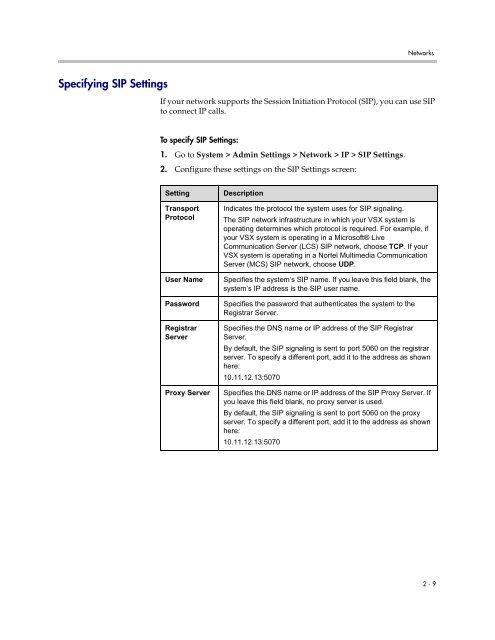 Specifying SIP Settings VSX Series Version 8 5 3 - Knowledge