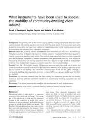 What instruments have been used to assess the mobility of ...