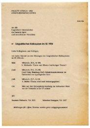 Linguistische Kolloquium, Uni Bamberg, 1994-1997 - Kodeks