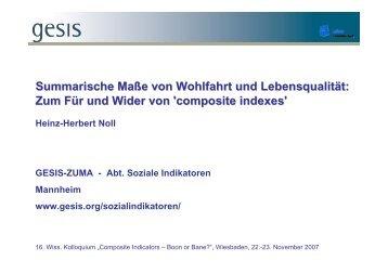 Summarische Maße von Wohlfahrt und Lebensqualität: Zum Für und ...