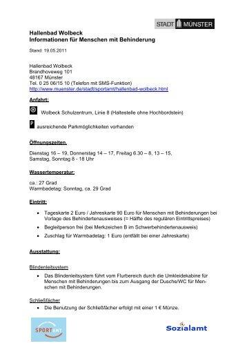 Schwimmbad Wolbeck hallenbad mitte informationen für menschen mit komm münster