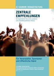 Zentrale Empfehlungen 2013 - IG Saubere Veranstaltung
