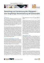 Sammlung und Verwertung des Altpapiers - Kommunale Infrastruktur