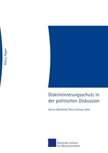 Diskriminierungsschutz in der politischen Diskussion - Deutsches ...
