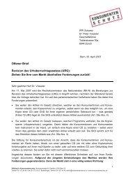 Offener Brief - Stiftung für Konsumentenschutz