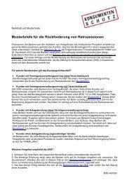 Musterbriefe für die Rückforderung von Retrozessionen - Stiftung für ...