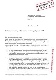 Vernehmlassung - Stiftung für Konsumentenschutz