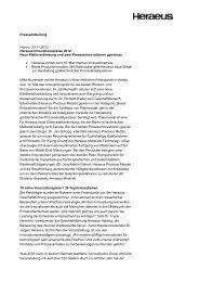 Pressemitteilung - Heraeus Innovationspreise 2012 - Über Heraeus
