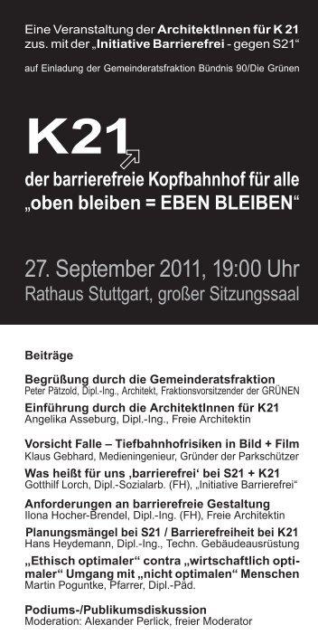 27. September 2011, 19:00 Uhr - Kopfbahnhof 21