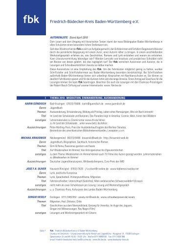 fbk-BW Autorenliste 2010 - Kooperationskompass Kulturelle Bildung