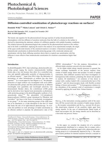 Diffusion-controlled sensitization of photocleavage reactions on ...