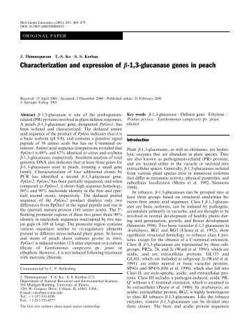 Characterization and expression of b-1,3-glucanase genes in peach
