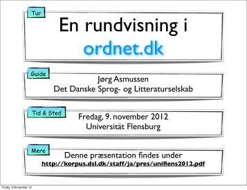 En rundvisning i ordnet.dk - Det Danske Sprog- og Litteraturselskab